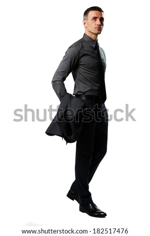 Full-length portrait of a businessman looking up isolated on a white background