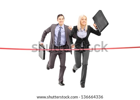 Full length portrait of a businesspeople running towards a finish line isolated on white background - stock photo