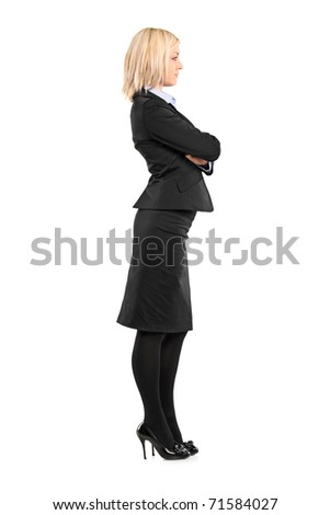 Full length portrait of a businesswoman waiting in line isolated against white background - stock photo