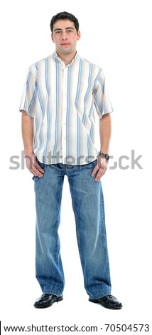 Full length portrait of a casual young man isolated on white background - stock photo