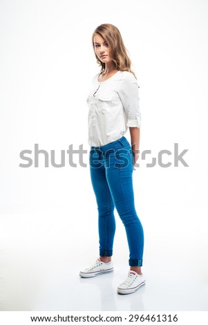 Full length portrait of a charming woman posing isolated on a white background - stock photo