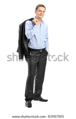 Full length portrait of a confident man looking at camera isolated on white background - stock photo