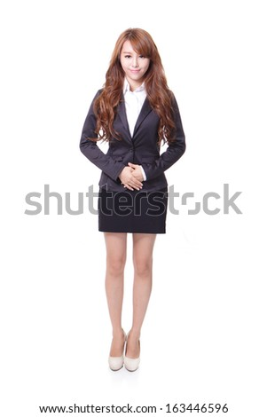 Full length portrait of a confident young business woman standing isolated on white background, asian beauty model - stock photo