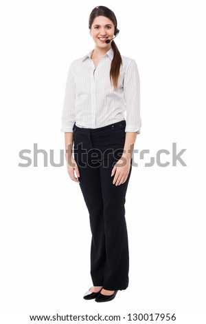 Full length portrait of a customer support executive. - stock photo