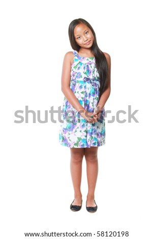 Full length portrait of a cute girl isolated on white background - stock photo