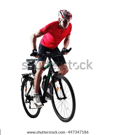 Full length portrait of a cyclist riding his mountain bicycle in a white studio