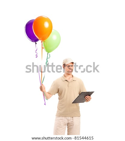 Full length portrait of a delivery boy delivering balloons isolated on white background - stock photo