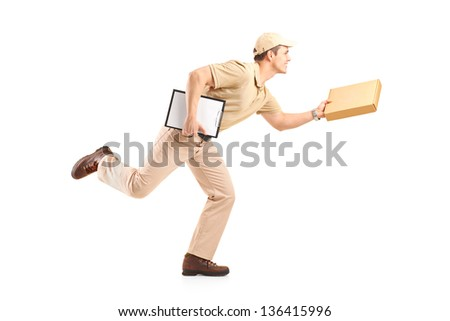 Full length portrait of a delivery boy in a rush delivering a package isolated against white background - stock photo