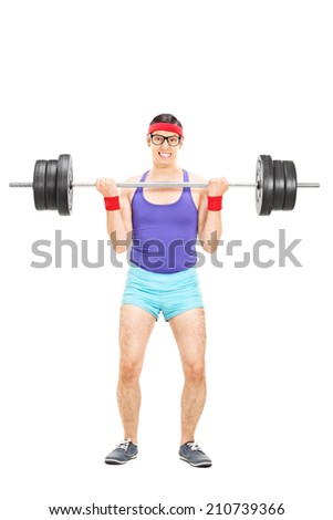 Full length portrait of a determined guy lifting a heavy barbell isolated on white background - stock photo