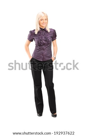 Full length portrait of a fashionable female posing isolated on white background - stock photo
