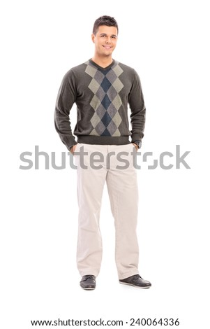 Full length portrait of a fashionable young male model isolated against white background - stock photo