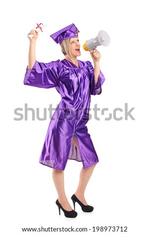 Full length portrait of a female graduate student speaking on a megaphone isolated on white background - stock photo
