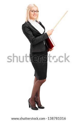 Full length portrait of a female lecturer pointing with a stick, isolated on white background - stock photo