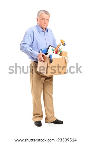Full length portrait of a fired man carrying a box of personal items isolated on white background - stock photo