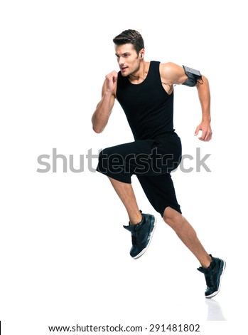 Full length portrait of a fitness man running isolated on a white background - stock photo