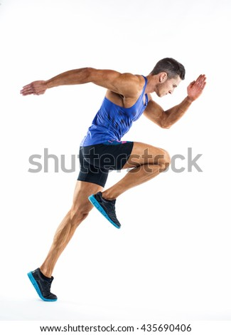 Full length portrait of a fitness man running isolated on a white background. - stock photo