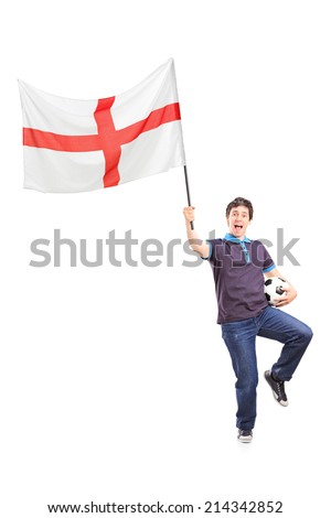 Full length portrait of a football fan holding an English flag isolated on white background - stock photo