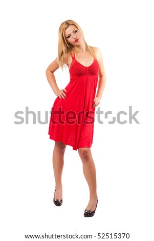 Full length portrait of a gorgeous pinup blond woman in red dress isolated on white