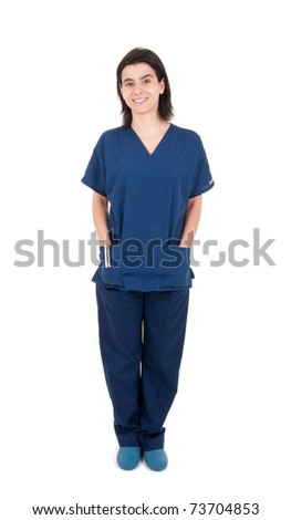 full length portrait of a handsome female doctor wearing uniform and clogs (isolated on white background)
