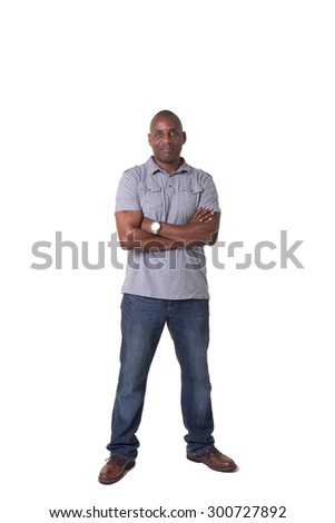 Full length portrait of a handsome middle aged male isolated on white