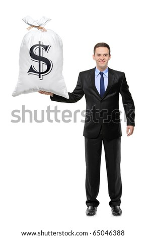 Full length portrait of a  happy businessman holding a bag with US dollar sign isolated on white background - stock photo