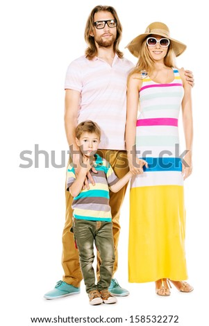 Full length portrait of a happy family. Father, mother and son. Isolated over white. - stock photo