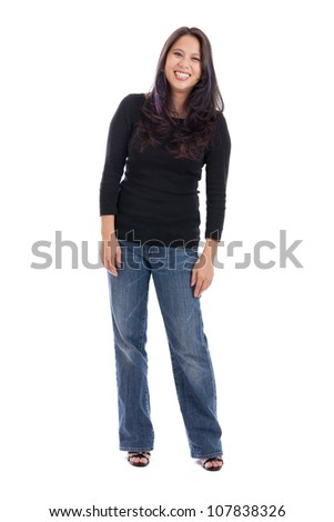 Full length portrait of a happy late 30s Asian woman isolated on white - stock photo