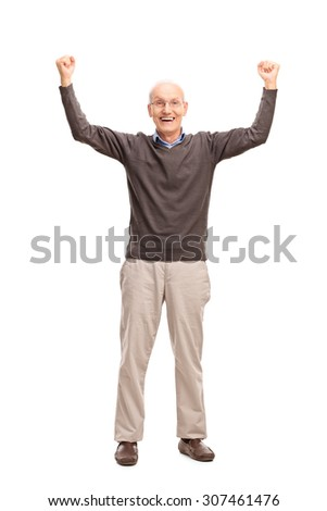 Full length portrait of a joyful senior gesturing happiness with both hands in the air isolated on white background - stock photo