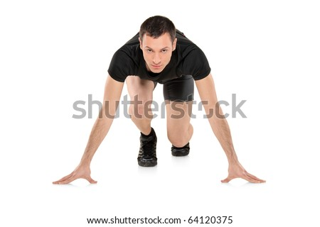 Full length portrait of a male athlete ready to run, looking down, isolated on white background - stock photo