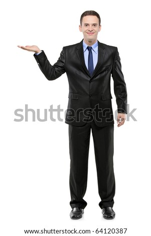 Full length portrait of a man in a suit with right hand lifted isolated against white background - stock photo