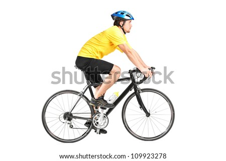 Full length portrait of a man riding a bycicle isolated against white background