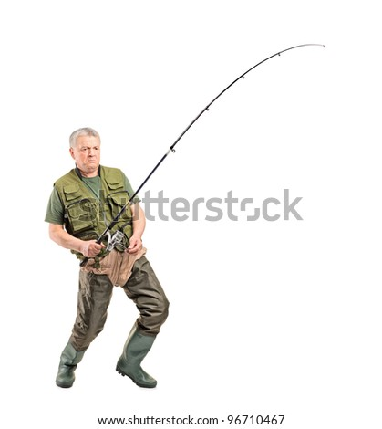 Full length portrait of a mature fisherman holding a fishing pole isolated on white background - stock photo