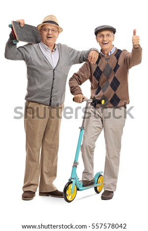 Full length portrait of a mature man with a skateboard and another man with a scooter giving a thumb up isolated on white background