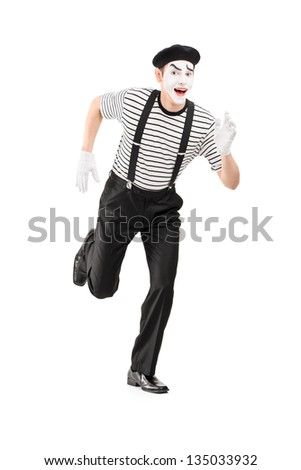 Full length portrait of a mime artist running and looking at camera, isolated on white background