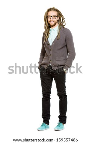 Full length portrait of a modern handsome young man in spectacles. Isolated over white. - stock photo
