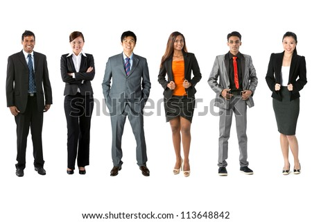 Full length Portrait of a multi-culural business team. Isolated on a white background. - stock photo