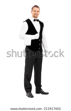 Full length portrait of a professional waiter with a towel around his arm isolated on white background - stock photo