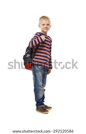 Full length portrait of a school boy with backpack isolated against white background - stock photo