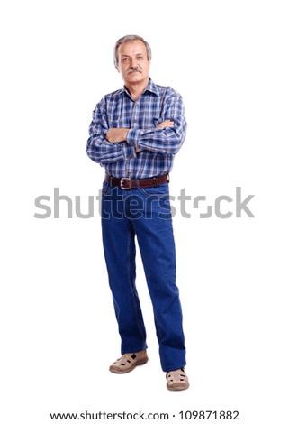 Full length portrait of a senior man - stock photo