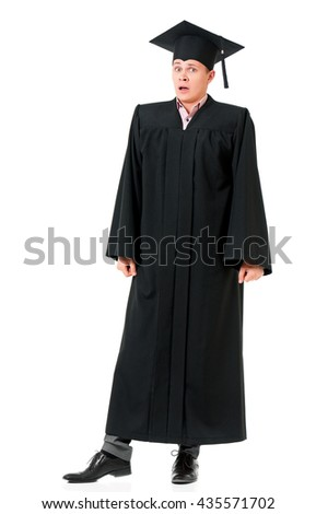 Full length portrait of a shocked caucasian man graduate, isolated on white background