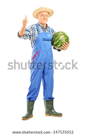 Full length portrait of a smiling farmer holding a watermelon and giving thumb up isolated on white background  - stock photo