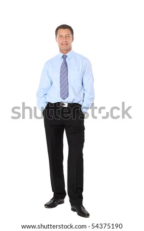Full length portrait of a successful mature business man with hands folded isolated on white - stock photo