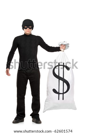 Full length portrait of a thief holding a bag with US sign isolated against white background - stock photo