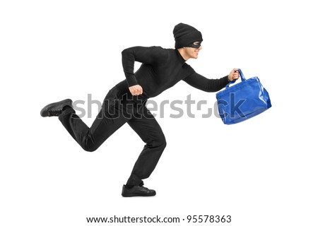 Full length portrait of a thief running with a stolen purse isolated on white background