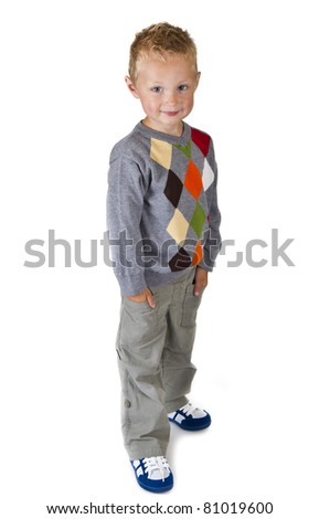 Full length portrait of a three years old boy - isolated over white - stock photo