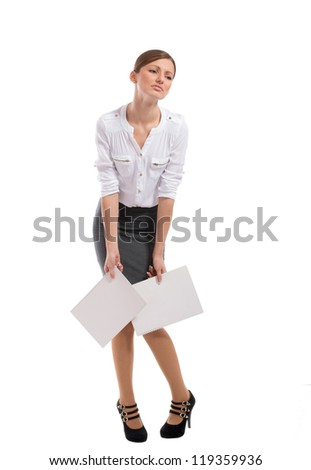 Full length portrait of a tired office lady, on white background - stock photo
