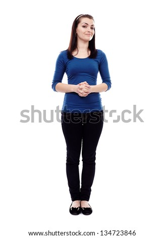 Full length portrait of a woman standing isolated on white background