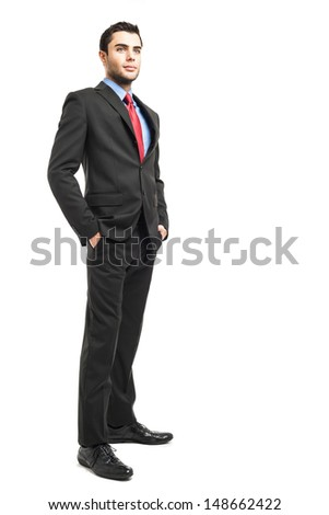 Full length portrait of a young business man - stock photo