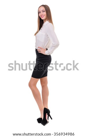 full-length portrait of a young business woman, isolated on white background