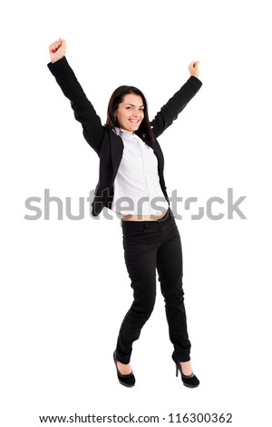 Full length portrait of a young businesswoman celebrating victory